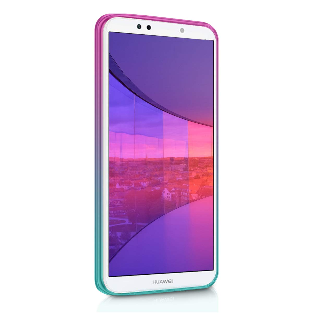 kwmobile TPU Silicone Case for Huawei Y7 (2018)/Y7 Prime (2018) - Crystal Clear Smartphone Back Case Protective Cover - Dark Pink/Blue/Transparent