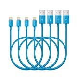 RAVPower 4-Pack 3ft iPhone Cables Apple MFi Certified Lightning Cable for iPhone 7/7 Plus/ 6S/ 6 Plus/ 6/ 5S/ SE/iPad Mini -Blue