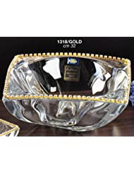 Italian Collection Crystal Wavy Bowl Decorated With Swarovski Crystal