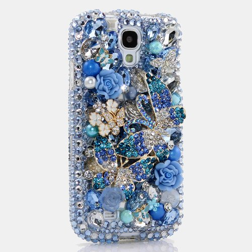 BlingAngels® Samsung Galaxy Note 3 Note III N9000 3D Luxury Bling Case Cover Faceplate Swarovski Crystals Diamond Sparkle bedazzled jeweled Design Back Snap-on Hard Case (100% Handcrafted by BlingAngels) (Blue Double Butterfly Design)