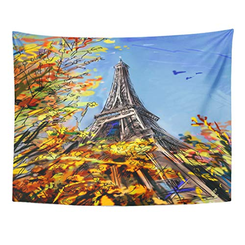 Wall Cosmopolitan Maps (Emvency Tapestry 60 x 50 Inches Architecture Street in Autumn Built City Cityscape Construction Cosmopolitan District Wall Hanging Art Home Decor Tapestries for Bedroom Dorm Living Room)