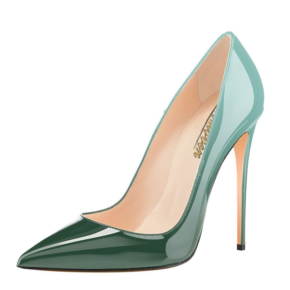 Modemoven Women's Pointy Toe High Heels Slip On Stilettos Large Size Wedding Party Evening Pumps Shoes B071RP97B3 9.5 B(M) US|Emerald