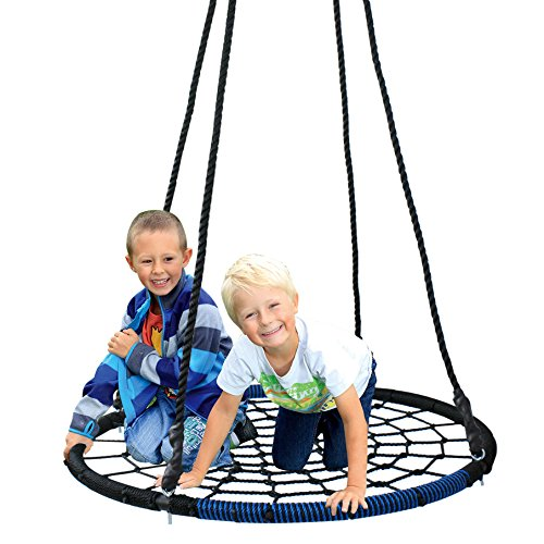 SUPER DEAL 40'' Spider Web Tree Swing Net Swing Platform Rope Swing 71