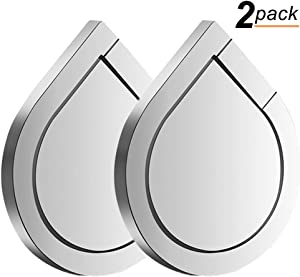 Phone Ring Holder, 2PCS Full-Metal 360° Rotation Phone Grip Kickstand Work on Magnetic Car Holder Universal Finger Ring Stand for iPhone 8 7 7 Plus 6S 6 5 5S, Samsung Galaxy and iPads (Silver)