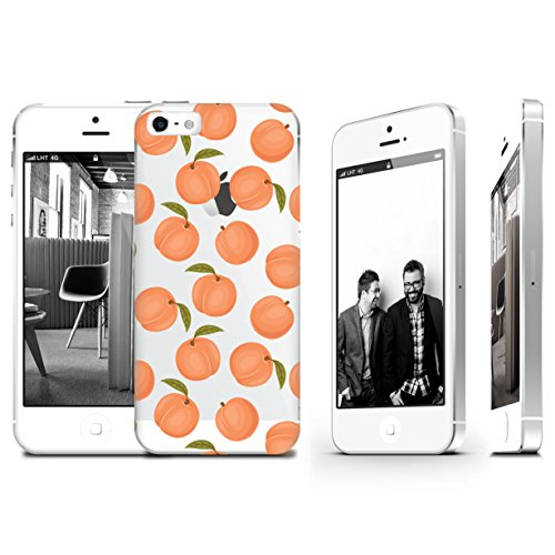 Peach Fruit Pattern Summer Transparent Plastic Phone Case for iphone 5 5s _ SUPERTRAMPshop (iphone 5)