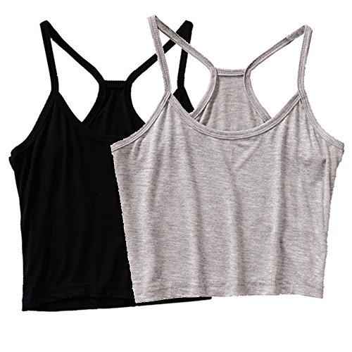 Micmall Cami Camisole Short Y Style Spaghetti Strap Women's Tank Top Black/Grey