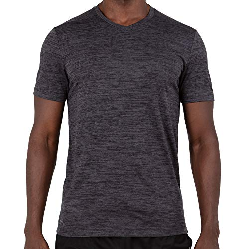 (Alive Men's Tee Shirt Active Quick Dry Workout Short Sleeve Shirts Crew Neck (Medium, Charcoal Grey Heather))