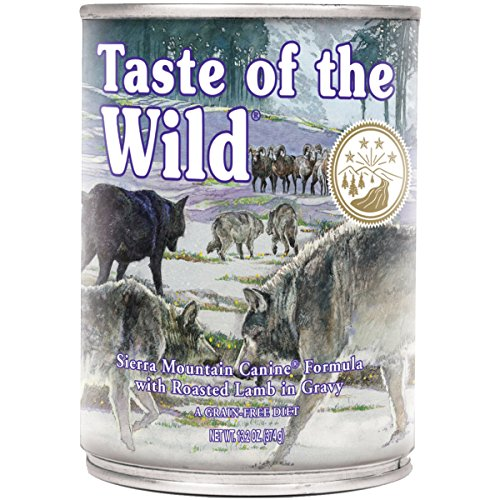 Taste of the Wild Sierra Mountain Grain Free Protein Real Meat Recipe Wet Canned Dog Food, a Stew with Real Roasted Lamb 13.2oz, Case of 12