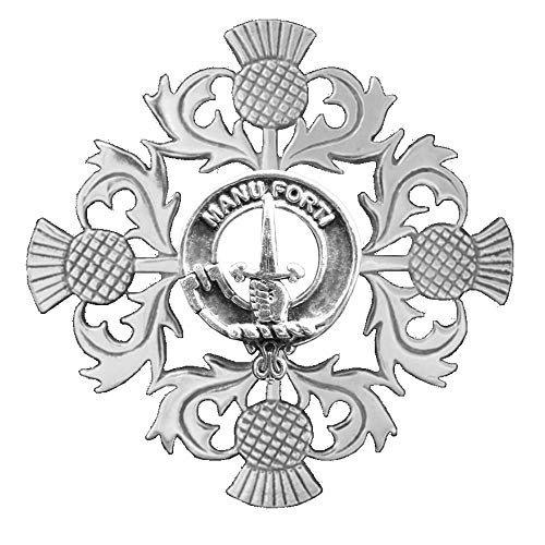 (MacKay Clan Crest Scottish Thistle Brooch)