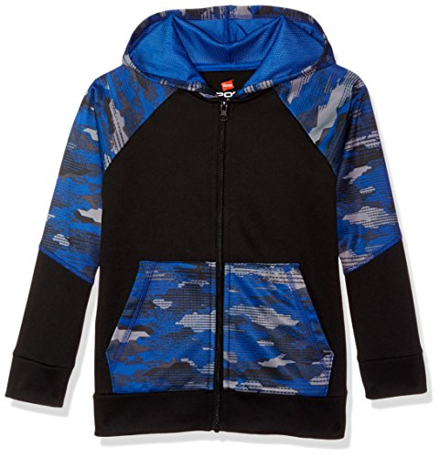 Hanes Boys' Big Tech Fleece Full-Zip Raglan Hoodie, Black/Fast Dash camo, 2X Large