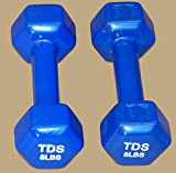 TDS PVC Coated Hex Dumbell – 8 lb (sold as pair) For Sale