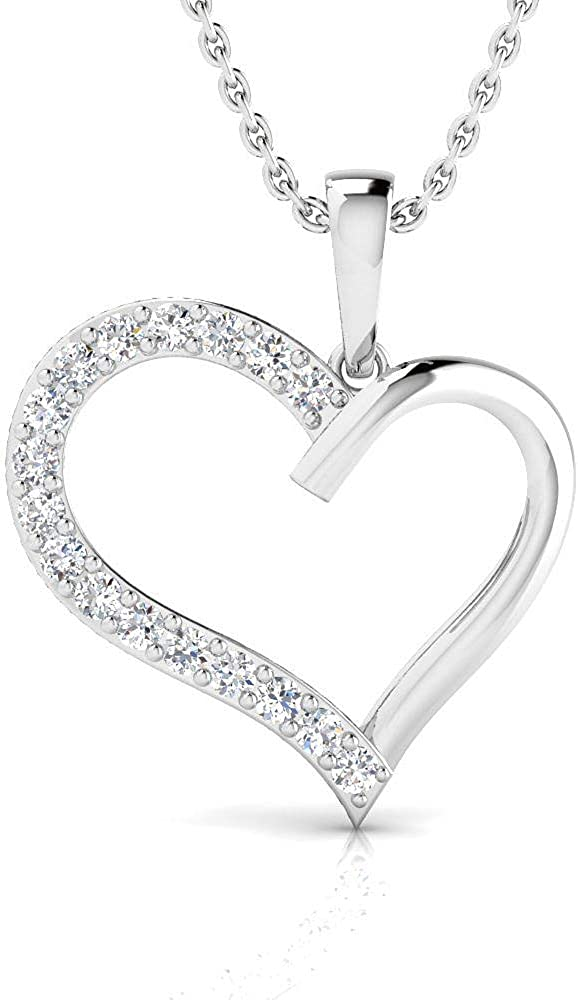 J-K Color, I3 Clarity IGI Certified 1//50 Carat Natural Diamond Sterling Silver Heart Pendant for Women with Chain