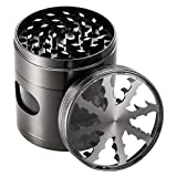 OMorc 2.4'' Spice Herb Grinder with Visible Window, Hollow-carved Design and Chamber Door for Kitchen and Outdoor