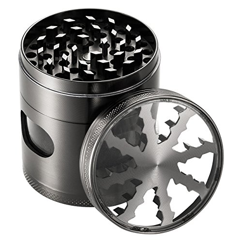 OMorc 2.4'' Spice Herb Grinder with Visible Window, Hollow-carved Design and Chamber Door for Kitchen and Outdoor by OMORC