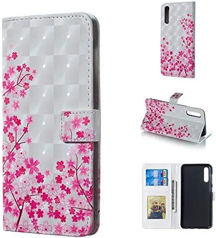 あなたの携帯電話を保護する ホルダー&カードスロット&フォトフレーム&財布付きギャラクシーA50用サクラパターン3D水平フリップレザーケース