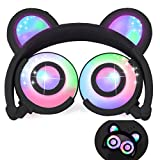 iGeeKid Kids Headphones Bear Ear-Inspired USB Rechargeable LED Backlight,Wired On/Over Ear Gaming Headsets 85dB Volume Limited for Girls,Boys,Compatible for Kids Tablet,iPad,iPhone,Android,PC(Black) For Sale