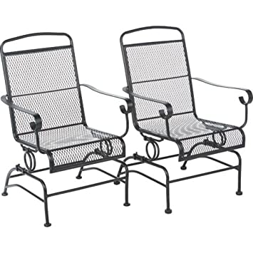 Outdoor Steel Mesh Patio Rocking Chair Set