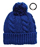 Women's Cable Knitted Fleece Lined Pom Pom Beanie Hat with Hair Tie. (ROYAL BLUE)