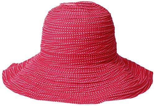 Wallaroo Hat Company Women's Petite Scrunchie Sun Hat - Fuchsia/White Dots - UPF 50+