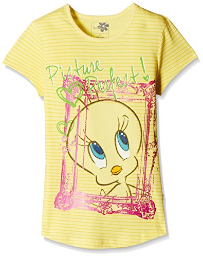 Tweety Girls' T-Shirt (TW0EGT1554_Buttercup Yellow_5 - 6 years)