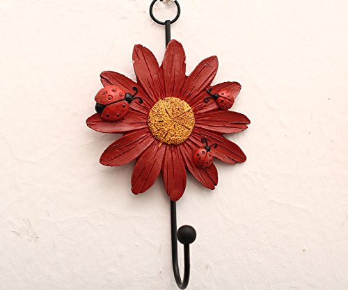 Creative Daisy Resin Wall Hooks Wall Mounted Art Flower Iron Hook Hand-painted Hanging Coat / Hat /Key/ Towel Hooks Home Decoration(Set of 4) by Skyling (Image #2)