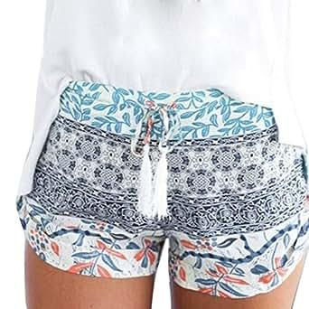 DaySeventh Women's Sexy Hot Pants Summer Casual High Waist Beach Shorts Large Blue