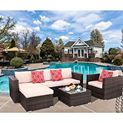 Garden and Outdoor Polar Aurora 6pcs Patio Furniture Set PE Rattan Wicker Sectional Outdoor Sofa Set Outside Couch w/Beige Washable Seat… patio furniture sets