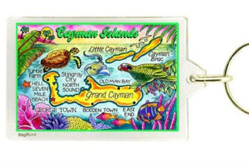Cayman Islands Map Acrylic Rectangular Souvenir Keychain 2.5