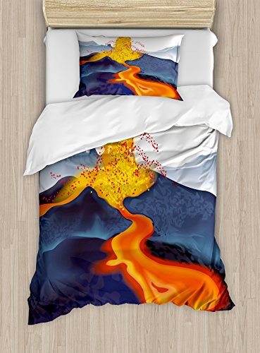 Eruption Natural (Volcano Duvet Cover Set Twin Size by Ambesonne, Vibrant Graphic Display of Eruption Natural Disaster Molten Hot Lava, Decorative 2 Piece Bedding Set with 1 Pillow Sham, Cadet Blue Scarlet Yellow)