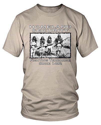T-shirt Fighting Spirit (Amdesco Men's Native American Homeland Security Since 1492 T-Shirt, Putty XL)