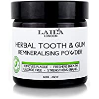 Tooth & Gum Powder - Herbal Organic Extra-Strength 100% Natural (Fluoride-Free) Natural Whitening Remineralising Dental Polish 60ml - Breath Freshener - Bentonite Clay, Myrrh & Mint - Satisfaction Guaranteed