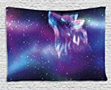 Ambesonne Fantasy Tapestry, Psychedelic Northern Starry Sky with Spirit of A Wolf Aurora Borealis Display, Wall Hanging for Bedroom Living Room Dorm, 80 W X 60 L inches, Blue Purple