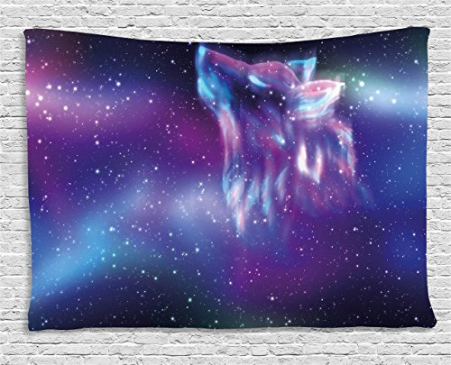(Ambesonne Fantasy Tapestry, Psychedelic Northern Starry Sky with Spirit of A Wolf Aurora Borealis Display, Wall Hanging for Bedroom Living Room Dorm, 80 W X 60 L inches, Blue Purple)