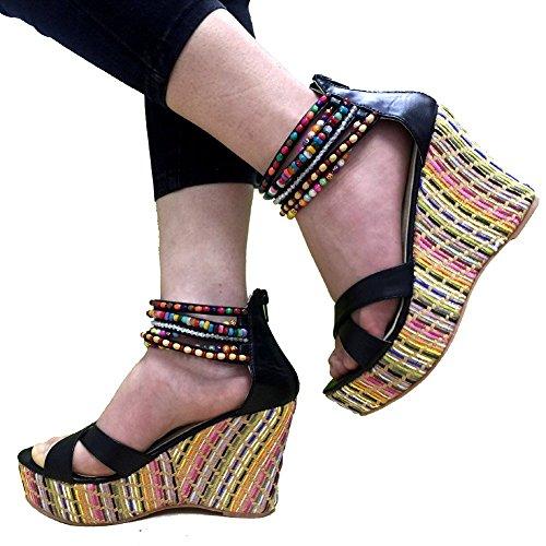 getmorebeauty Women's Weave Wedge With Pearls Across The Top Platform High Heels