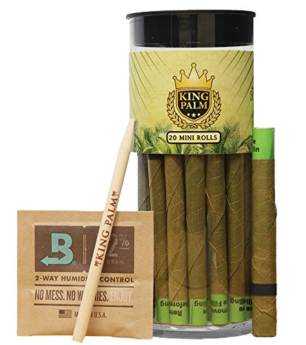 King Palm Mini Size Natural Slow Burning Pre-Rolled Palm Leafs with Filter Tip (20 Pack)