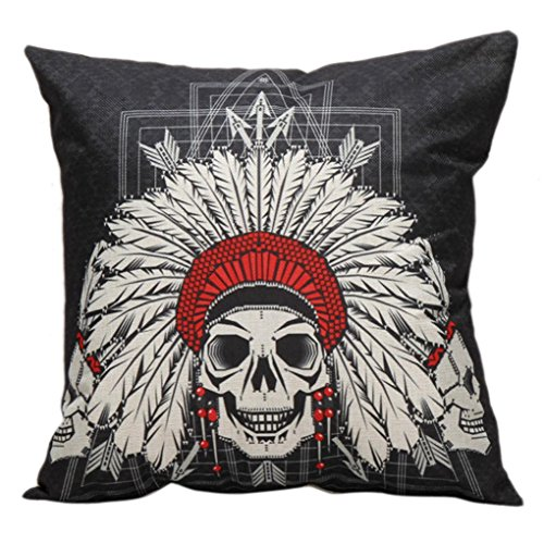 Price comparison product image Challyhope Trendy Throw Pillow Cases Vintage Funny Skull Printed Sofa Waist Cushion Cover Home Decor (Multicolor A | Skulls Wore Amercian Indian Headdress Crest)