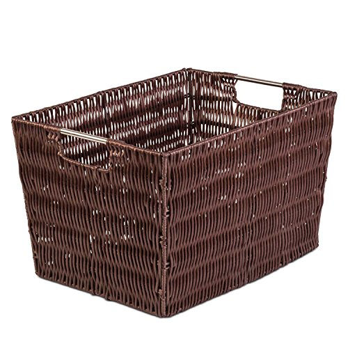 "Woven Large Decorative Storage Basket - Shelf Closet Organizer w/ Ample Space - Incredibly Versatile - Highly Durable Build - Easy to Clean - Attractive Design - 11"" W X 14.9"" L X 9"" H- Brown"