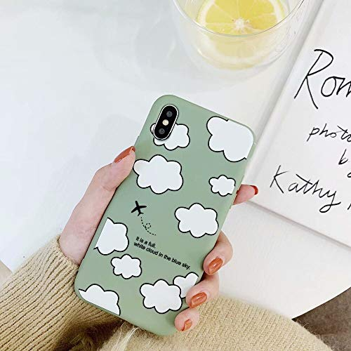 Rhine New Clouds Graphic Phone Cases for iPhone X 7 8 Plus XS XR XS Max Girly Ultra-Thin Soft TPU Phone Back Cover Case Fundas (Light Green, for iPhone X XS) (Girly Nokia Lumia 635 Cases)