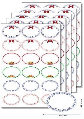 Super 90 etichette autoadesive di forma ovale, con cornicetta decorativa  WS11
