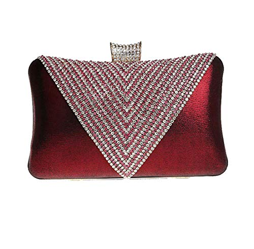 Chaîne Luckywe Parti Paillettes Sacs Foncé rhinestone Petit Mariage Femmes Rouge de Diamants De Soirée Sac qXHzn4rwBX