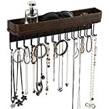 JACKCUBE Design Necklace Holder Wall Hanging Jewelry Organizer Bracelet, Earrings, Rings with 25 Hooks(Brown/16.4 x 2.9 x 4.9 inches) - :MK124A