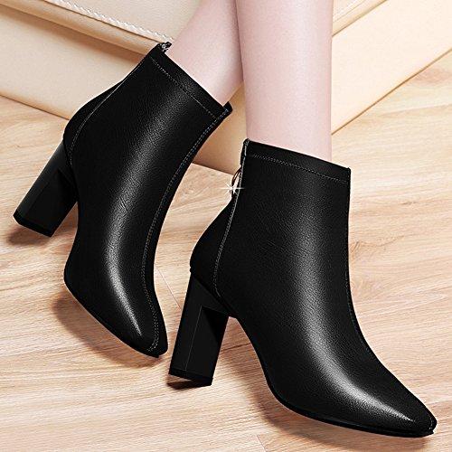 Women's Thick BERTERI Rear Head Zipper Metal Heel Ankle Boots Round Black Boots gHfqcfwd