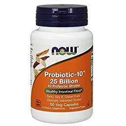 NOW Probiotic-10 25 Billion,50 Veg Capsules
