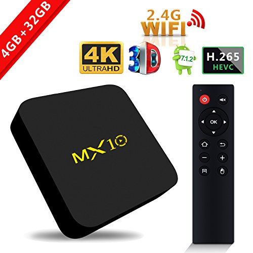 SCS ETC Streaming Media Player, MX10 Android 7.1 TV Box 4GB + 32GB, Smart TV Box Support 2.4G Wifi Connected 64bit Quad-Core 3D 4K HDR Video Playing Smart TV Box