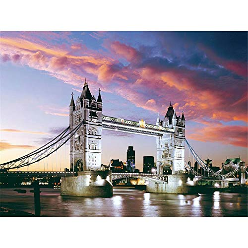 5D Diamond Painting Kits for Adults Full Drill Diamond Colorful, London Bridge London At Dusk, 9.8 X 11.8 Inch(Frameless) -