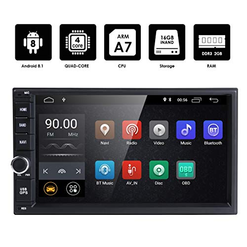hizpo Android 8.1 Double Din DVD Player Head Unit 2GB RAM 16GB ROM 7 inch 2 DIN Touch Screen Support GPS WiFi DAB+ Android/iPhone Mirrolink Steering Wheel Control (Best Double Din Head Unit Under 200)