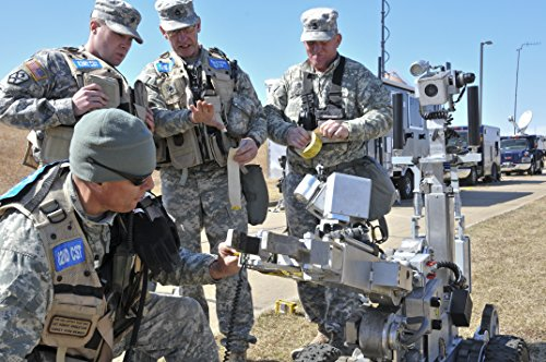 Laminated Poster Members of The 82nd Civil Support Team (WMD) prep The Down Range Monitoring Equipment (Bomb Robot) t Vivid Imagery Poster Print 24 x 36