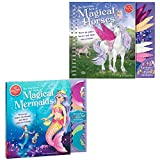 Klutz The Marvelous Book of Magical Creatures Set of 2: Mermaids and Unicorn Horses with Myriads Drawstring Bag