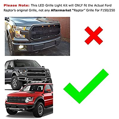 iJDMTOY (3 Clear Lens Amber LED Grille Running Lights Compatible with 10-14 & 17-up Ford Raptor (Powered by 36 Pieces of SMD LED Lights): Automotive