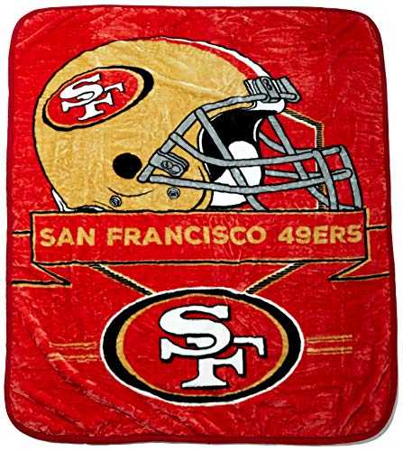 (NFL San Francisco 49ers Prestige Plush Raschel Throw, 60